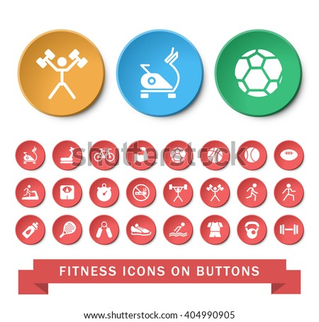 Set of 24 Universal Fitness Icons on Circular Buttons on White Background. Isolated Elements.