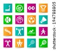 Set of Universal Fitness Icons on Square Colored Buttons 3. - stock vector