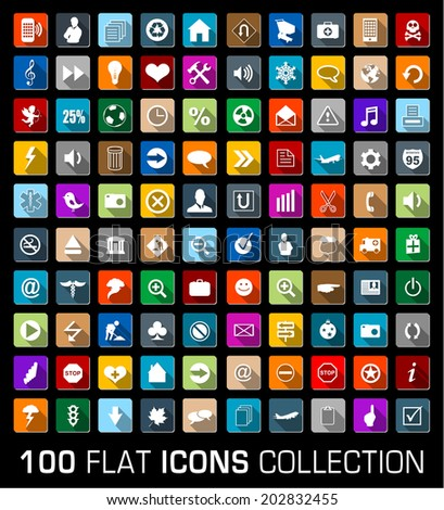 Set of 100 universal flat modern icons with shadow - stock vector