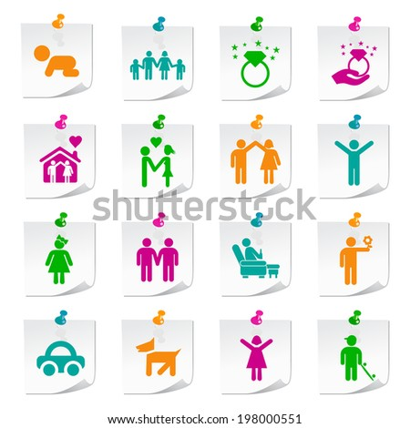 Set of Universal Flat Simple Family Icons on Square Colored Notepaper Buttons 1.