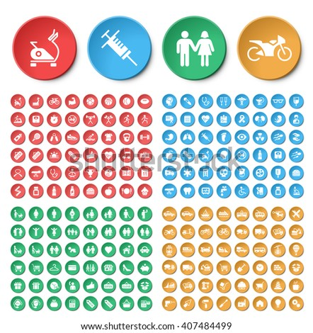 Set of 196 Universal Icons ( Fitness , Medical , Family , Shopping , Construction and Transport ) . Isolated Elements. - stock vector
