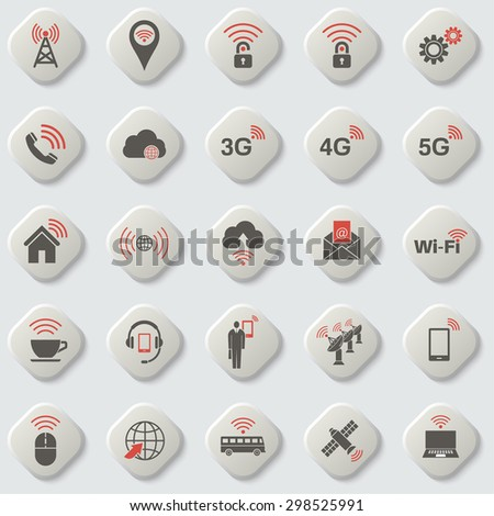 Set of universal icons for web and mobile. Wireless communication. Cloud storage. Network. Setting, home, media. Wi-Fi connection. Cloud service. Button. Vector element of graphic design - stock vector