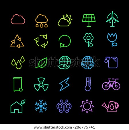 Set of Universal Minimal Thin Line Colored Neon Stroke Ecology Icons with Color Gradient on Black Background. - stock vector