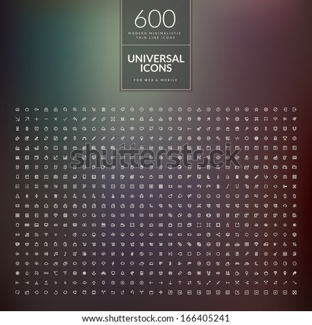 Set of 600 universal modern thin line icons for web and mobile - stock vector
