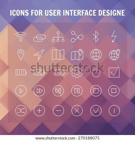 Set of universal modern thin line icons for web and mobile - stock vector