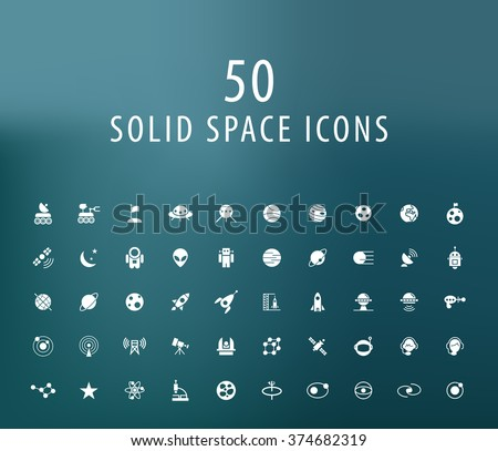 Set of 50 Universal Space Icons. Isolated Vector Elements. - stock vector