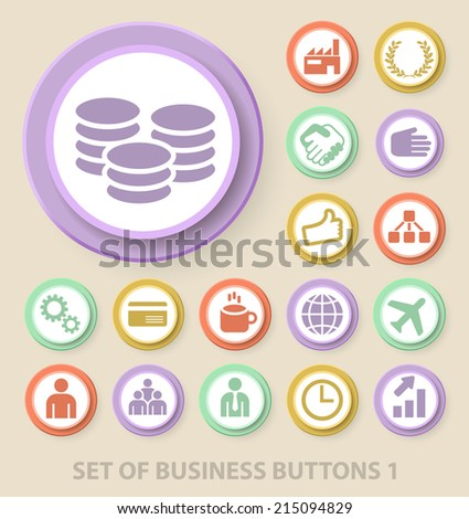 Set of Universal Standard Business Icons on Elegant Modern Three-dimensional Colored Circular Buttons on Colored Background 1. - stock vector
