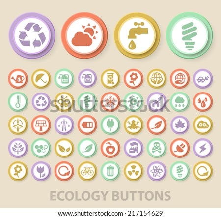 Set of Universal Standard Ecology Icons on Elegant Modern Three-dimensional Colored Circular Buttons on Colored Background.
