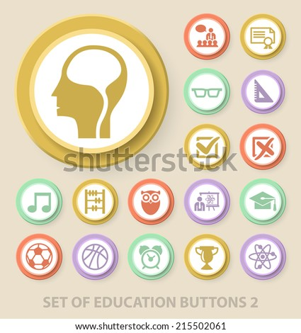 Set of Universal Standard Education Icons on Elegant Modern Three-dimensional Colored Circular Buttons on Colored Background 2. - stock vector