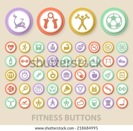 Set of Universal Standard Fitness Icons on Elegant Modern Three-dimensional Colored Circular Buttons on Colored Background.