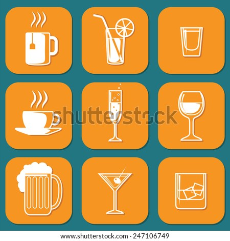 Set of Universal Standard Flat Isolated drinking Icons. Drinking Icons. Vector illustration