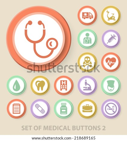 Set of Universal Standard Medical Icons on Elegant Modern Three-dimensional Colored Circular Buttons on Colored Background 2. - stock vector