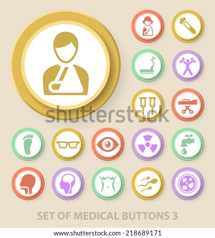 Set of Universal Standard Medical Icons on Elegant Modern Three-dimensional Colored Circular Buttons on Colored Background 3. - stock vector