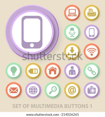 Set of Universal Standard Multimedia Icons on Elegant Modern Three-dimensional Colored Circular Buttons on Colored Background 1. - stock vector
