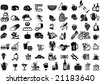 Set of universal supermarket symbols as foods, winery, grocery etc. - for icons, signs, labels, cards and posters - stock vector