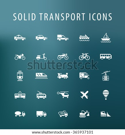 Set of 25 Universal Transport Icons. Isolated Elements. - stock vector