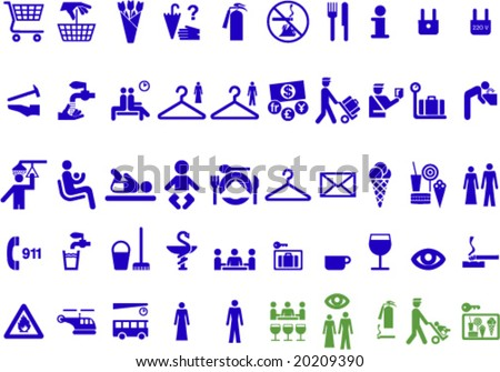 Set of universal useful symbols for graphic designers  (green jocular icons included) to create signs, web icons etc. - stock vector