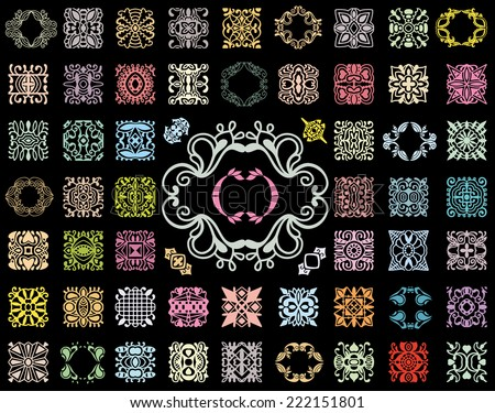 Set of 60 universal vector design elements, frames, seamless patterns, isolated on black. Geometric and floral textures for print, wallpaper, web pages, surface design, textile, fashion, cards. - stock vector