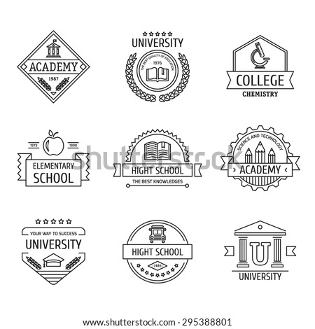 Set of university and college school crests and logo emblems. Vector vintage elements. - stock vector