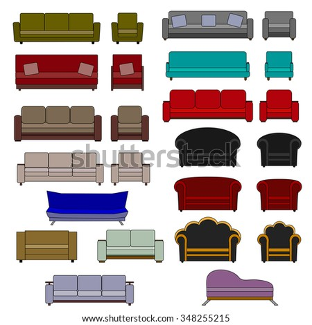 Set of upholstered furniture: sofas and armchairs - stock vector