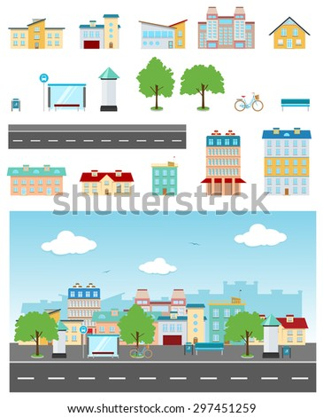 Set of urban buildings and constructions to make a real street from - stock vector