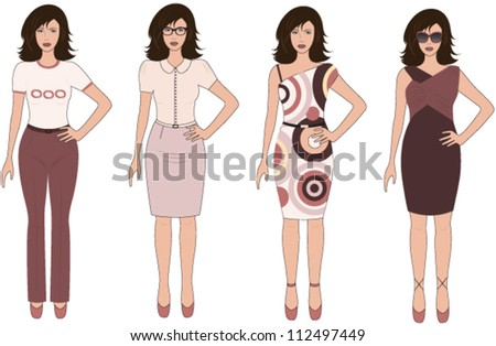 Set of urban lady in different dresses on white background.Vector