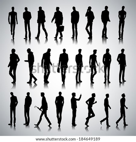 Set of urban male silhouettes on abstract background
