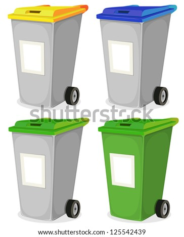 Set Of Urban Recyclable Trash Bin/ Illustration of a collection of cartoon recyclable trash bin for household waste sorting, in yellow, blue, and green top, with blank signs for message - stock vector