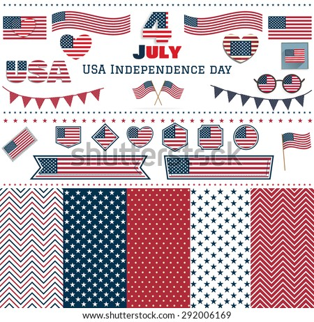 Set of USA Independence day patterns. Love USA, America. Happy Independence Day, July 4th - Fourth of July, American Flag Vector - stock vector