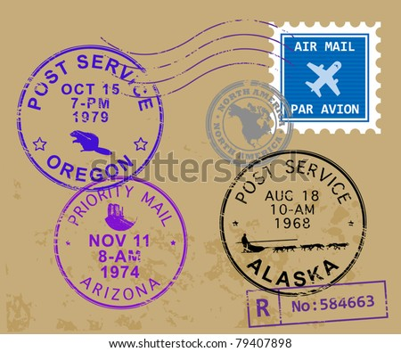 Set of USA post stamp symbols, vector illustration - stock vector