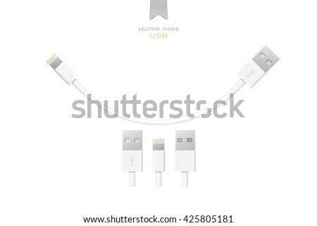 set of usb interface cables isolated on white background. vector universal serial bus 3d icons design. computer peripherals connector or smartphone recharge supply - stock vector