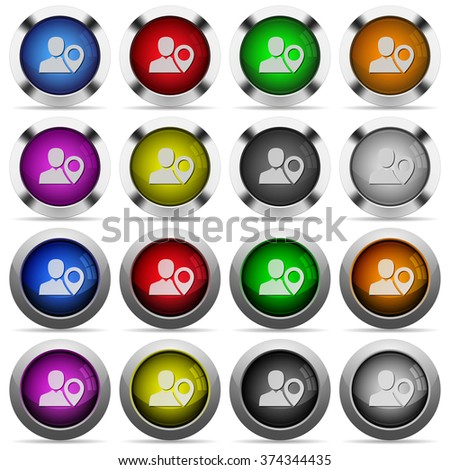 Set of User location glossy web buttons. Arranged layer structure.