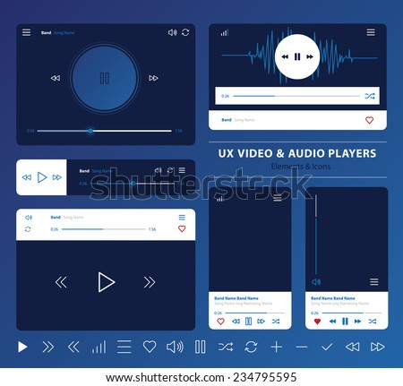 set of UX audio and video player templates in vector with design elements and icons - stock vector