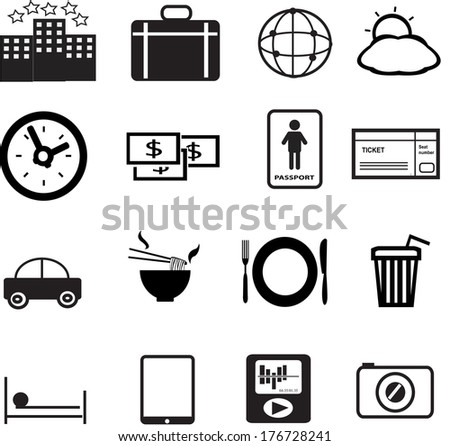 set of vacation and travel icon created in vector format - stock vector