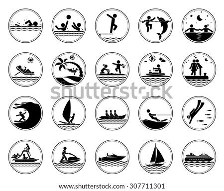Set of vacation at the sea icons. Collection of pictogram presenting different activities at the sea. Swimming icons. Vector illustration. - stock vector