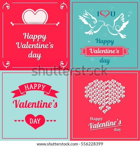 Happy Valentines Day Cards Ornaments Hearts Vector 122611915 – San Valentines Cards