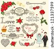 Set of Valentine design elements in retro style - stock vector
