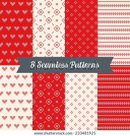 Set of Valentine Embroidery Patterns with Cross, Hearts, Stripes and Circles in Red and White. Perfect for wallpapers, pattern fills, web backgrounds, surface textures, birthday and wedding cards  - stock vector