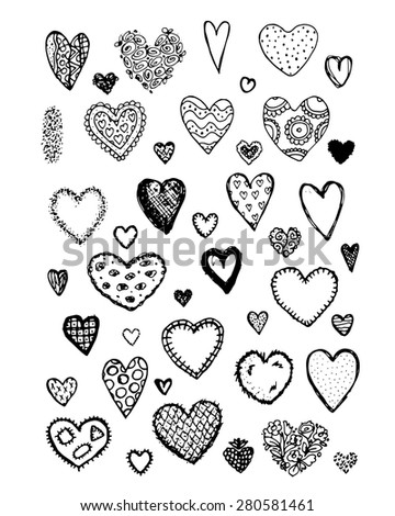 Set of valentine hearts for your design. Vector illustration - stock vector