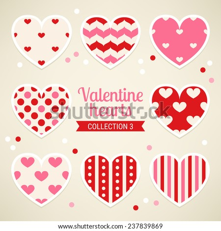 Set of Valentine Hearts with Waves, Stripes, Hearts and Polka Dots in Pink, Red and Beige. Perfect for wrapping paper, textile prints, Valentine, birthday and wedding cards. Vector illustration. - stock vector