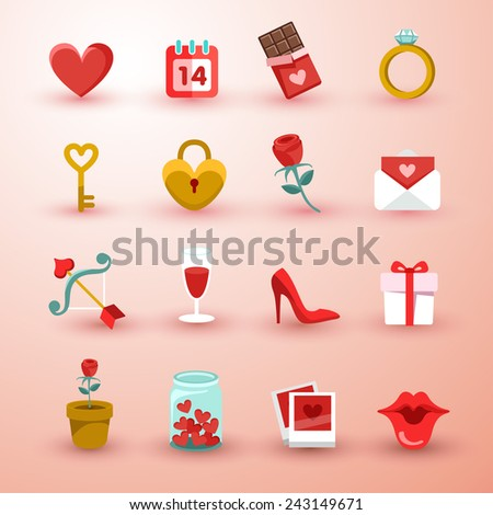 Set of Valentine items - stock vector