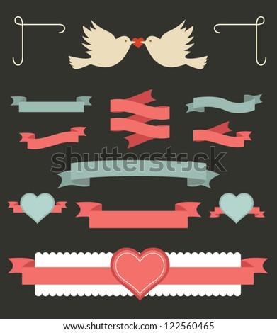 Set of valentine ornaments and decorative elements, vintage banner, ribbon, labels, frames, badge, stickers. Vector love element. - stock vector