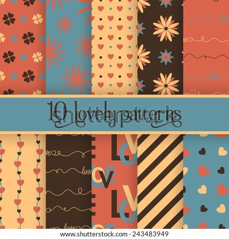 Set of 10 valentine's cute patterns. Vector seamless backgrounds for your design - stock vector