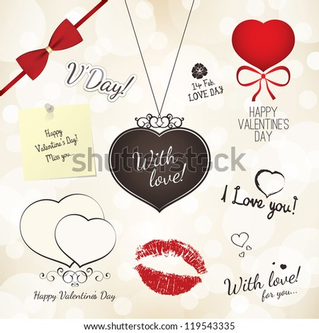 Set of Valentine's Day design elements - stock vector