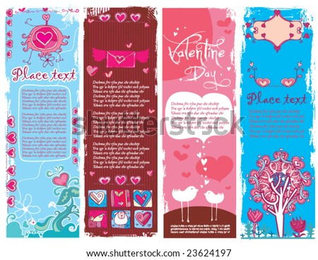 Set of Valentine's day grunge banners 2.  To see similar, please VISIT MY GALLERY.   - stock vector