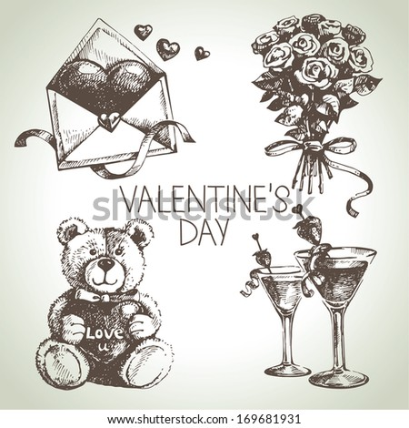 Set of Valentine's Day. Hand drawn illustrations - stock vector