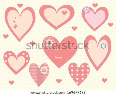 set of Valentine's Day heart tags and labels