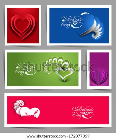 Set of Valentine's Day Hearts, eps10 vector  - stock vector