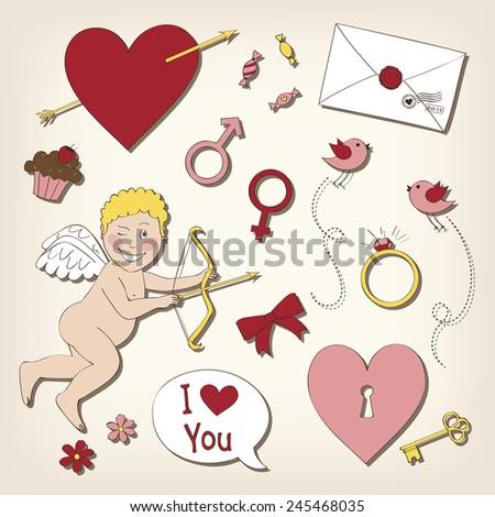 Set of valentine's day symbols - stock vector