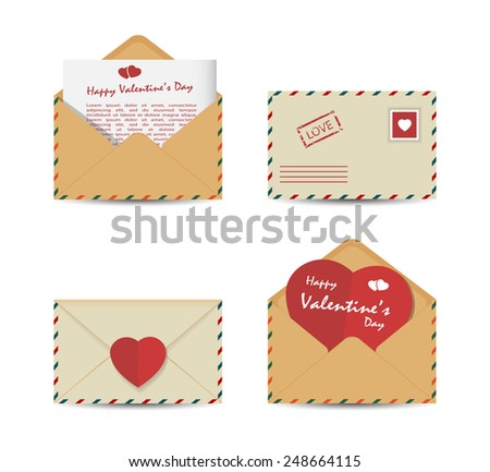 Set of Valentine's Day vintage envelopes with paper red hearts isolated on white background. Vector illustration. - stock vector